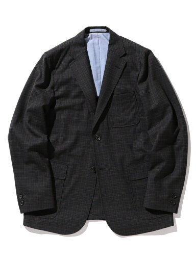 Wool Check Sport Coat 11-16-1665-887: Charcoal