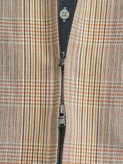 Cotton Linen Plaid Blouson 1125-299-7164: Beige