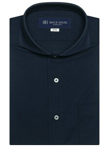 【SALE/25%OFF】BRICK HOUSE by Tokyo Shirts (M)形態安定 ノーアイロン 半袖ニットワイシャツ ビズポロ ホリゾンタルワイド ネイビー 鹿の子 ブリックハウスバイトウキョウシャツ シャツ/ブラウス 半袖シャツ ブルー
