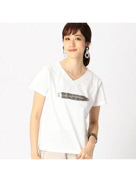 COMME CA ISM 箔プリント Tシャツ コムサイズム カットソー Tシャツ ホワイト カーキ