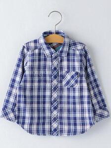 【SALE/61%OFF】SHIPS KIDS SHIPSKIDS:ダブルガーゼリバーシブルチェックシャツ(80~90cm) シップス シャツ/ブラウス シャツ/ブラウスその他 ブルー ネイビー