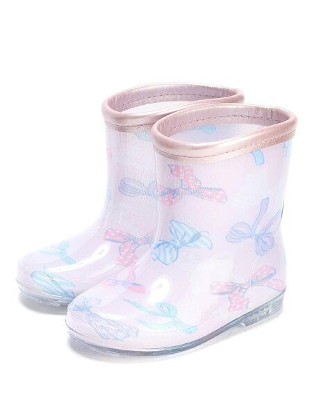 yoursarmyyoursarmy/リボンレインシューズストンプスタンプファッショングッズキッズ用品ピンク