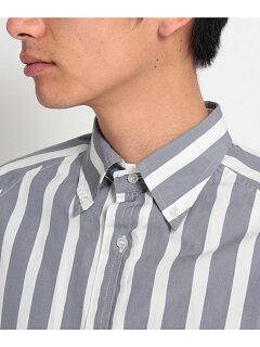 Stripe Drawstring Buttondown Shirt 086-58503: Grey