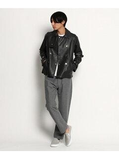 Cinquanta Sheep Leather Short Trench Coat 036-58554: Black