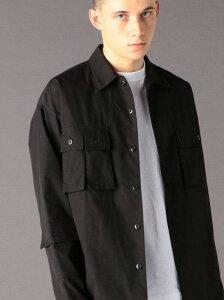 【SALE/40%OFF】coen TCストレッチタイプライターユーティリティCPOシャツジャケット(セットアップ対応)(UTILITYLINE)# コーエン シャツ/ブラウス 長袖シャツ ブラック グレー【RBA_E】