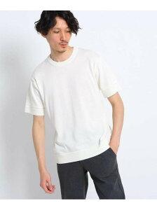 TAKEO KIKUCHI 超度詰め天竺ニットTシャツ タケオキクチ ニット ニットその他 ホワイト ネイビー【送料無料】