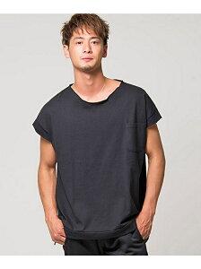 CavariA CavariAビッグシルエットフレンチスリーブクルーネック半袖Tシャツ シルバーバレット カットソー Tシャツ ブラック グレー カーキ レッド ホワイト