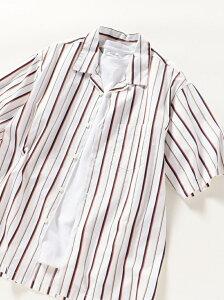 SHIPS any SHIPSany:ワイドストライプオープンカラー半袖シャツ シップス シャツ/ブラウス 半袖シャツ ホワイト ブラウン ブルー ネイビー【先行予約】*【送料無料】
