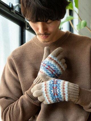 【SALE/50%OFF】coen バティックジャガードグローブ コーエン ファッショングッズ 手袋 ベージュ グレー【RBA_E】