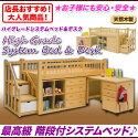 ロフトベッド木製階段付きシステムベッドデスク子供机システムベッド学習机デスク木製階段子供教科書収納誕生日入学祝い子供家具低ホルムアルデヒド