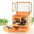 化粧ボックス メイク コスメボックス バニティーコスメボックス 三面鏡 メイクボックスパステルカラー ナチュラルオレンジ
