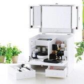 化粧ボックス メイク コスメボックス バニティーコスメボックス 三面鏡 メイクボックスパステルカラー ピュアホワイト