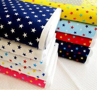 オックスプリント生地≪Twinkl Stars≫きらきら光るお星さま柄定番スタープリントをいろんな色の組み合わせで作った楽しい柄の生地です。/星柄/スター柄/男の子/女の子/入園入学/スモック/レッスンバッグ/シューズバッグ/巾着袋