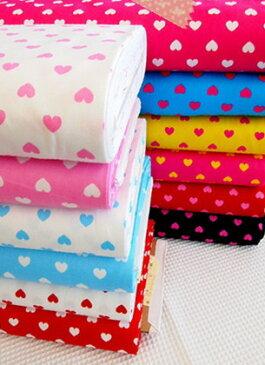 オックスプリント生地≪Sweet Heart≫スイートハート柄定番ハートプリントをいろんな色の組み合わせで作った楽しい柄の生地です。