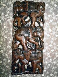 チーク材木彫ゾウ2枚組
