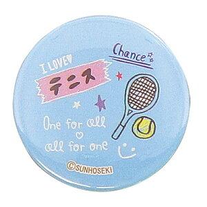 水色 テニス手書き風イラスト 缶バッジ【メール便・同梱OK】