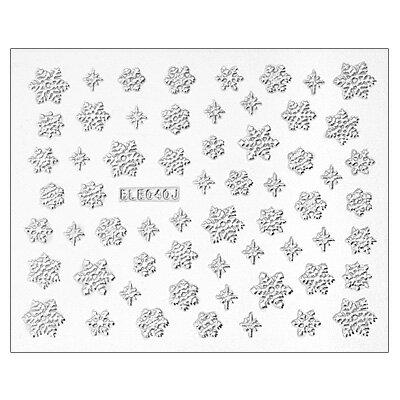 雪の結晶 シルバーカラー ネイルシール 61ピース コスメ ネイル ネイルアート マニキュア デコ ...