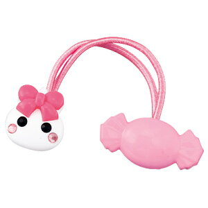 ピンク 白ほっぺちゃん&キャンディヘアゴム キッズヘア 女の子 ジュニア 髪留め 髪どめ