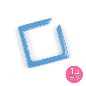 青 シンプル四角型 イヤーカフ 1個売り キッズ ジュニア レディース【メール便・同梱OK】