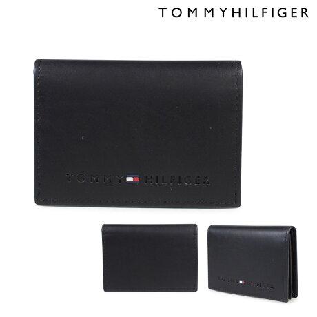 TOMMY HILFIGER 名刺入れ トミーヒルフィガー メンズ レザー WALLESLEY CARD HOLDER 4860 31TL20X014-001 ブラック [5/19 追加入荷]