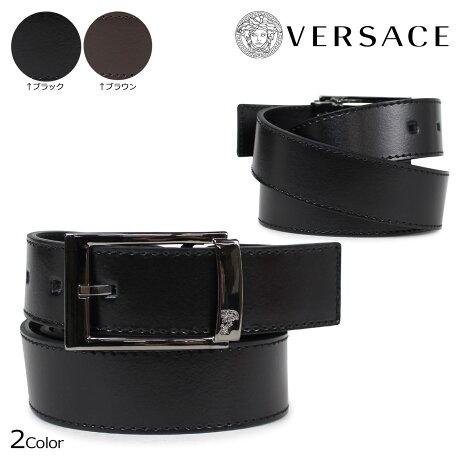 VERSACE ベルト ヴェルサーチ ベルサーチ メンズ 本革 レザーベルト ブラック ブラウン イタリア製 カジュアル ビジネス V91178S [3/6 追加入荷]