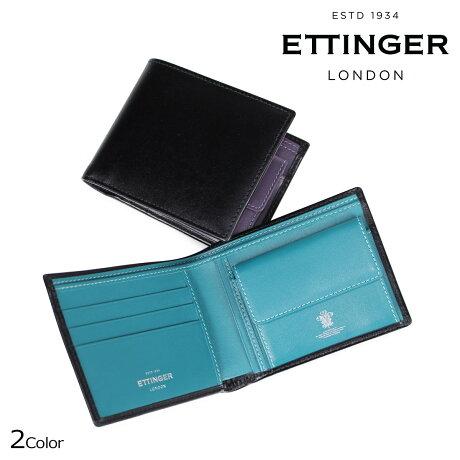 ETTINGER エッティンガー 財布 二つ折り メンズ STERLING BILLFOLD WITH 3 C/C & PURSE ブラック パープル ST141JR [5/24 新入荷]