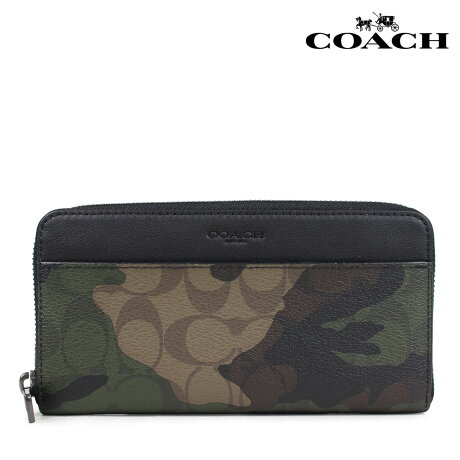 COACH コーチ 財布 長財布 メンズ ラウンドファスナー レザー シグネチャー カモ F87189 [5/11 新入荷]