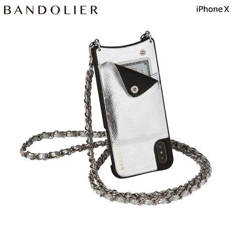 BANDOLIER バンドリヤー iPhoneX ケース スマホ アイフォン LUCY METALLIC SILVER レザー メンズ レディース [6/1 新入荷]