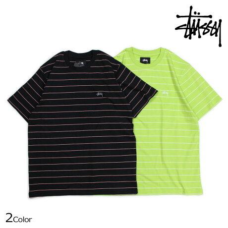 STUSSY ステューシー Tシャツ メンズ 半袖 ボーダー MINI STRIPE JERSEY ブラック ライム 1140061 [5/28 新入荷]
