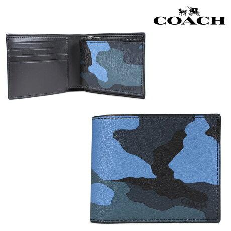 コーチ COACH 財布 二つ折り メンズ レザー ブルーカモ F32438 [7/10 新入荷]