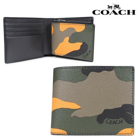 コーチ COACH 財布 二つ折り メンズ レザー オレンジカモ F32438 [7/10 新入荷]