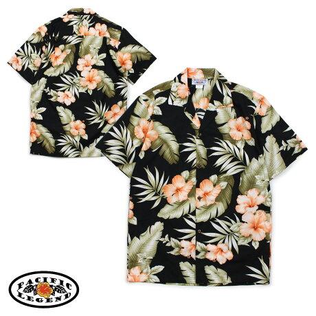 パシフィック レジェンド Pacific legend アロハシャツ メンズ ハワイ製 HAWAIIAN SHIRTS ブラック 410-3743 [予約商品 6/30頃入荷予定 新入荷]