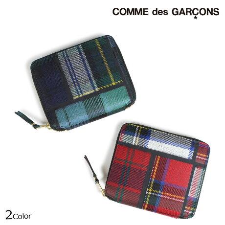 コムデギャルソン 財布 二つ折り メンズ レディース ラウンドファスナー COMME des GARCONS SA2100TP レッド グリーン [9/11 新入荷]