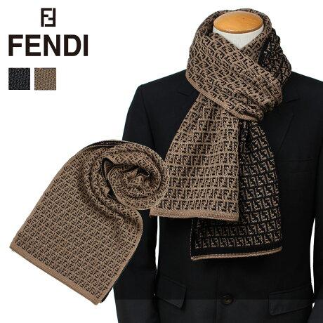 フェンディ FENDI マフラー メンズ ウール ブラック ブラウン FXS124 I17 [9/26 新入荷]