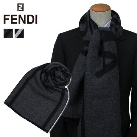 フェンディ FENDI マフラー メンズ ウール ブラック グレー FXS390 A4Z2 [9/26 新入荷]