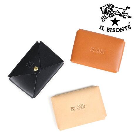 イルビゾンテ IL BISONTE カードケース 名刺入れ メンズ レディース CARD CASE VACCHETTA ブラック ベージュ ブラウン C0854 P [9/27 新入荷]