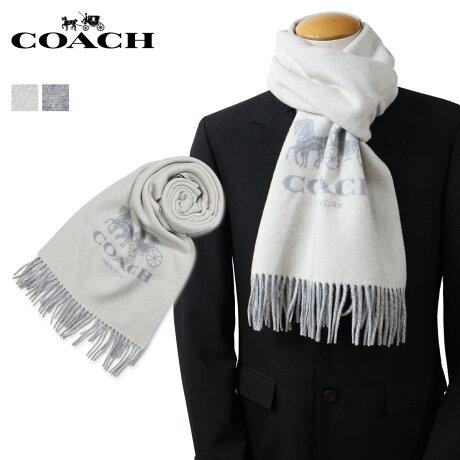 COACH コーチ マフラー レディース メンズ カシミヤ 大判 ホワイト 白 グレー 18782 12166
