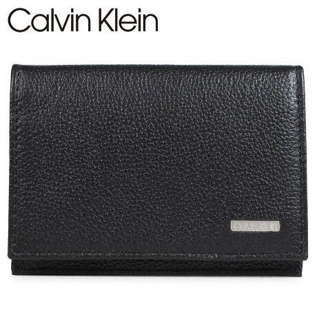 カルバンクライン Calvin Klein 名刺入れ カードケース メンズ レザー LOGO PLATE CARD CASE ブラック 79218 [予約 1/28 再入荷予定]