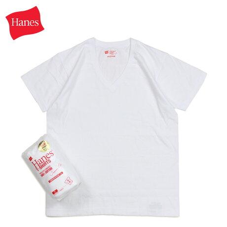 ヘインズ Hanes Tシャツ メンズ レディース ジャパンフィット 半袖 2枚組 Vネック ホワイト 白 H5315
