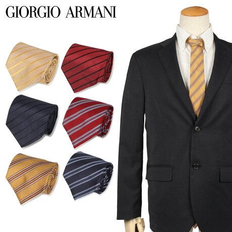 ジョルジオ アルマーニ GIORGIO ARMANI ネクタイ メンズ ストライプ イタリア製 シルク ビジネス 結婚式 ブラック ワインレッド ゴールド 黒 [10/11 新入荷]