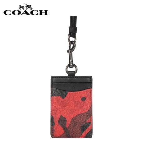 コーチ COACH パスケース カードケース ID 定期入れ メンズ レディース 迷彩 レッド F88268 [1/17 新入荷]