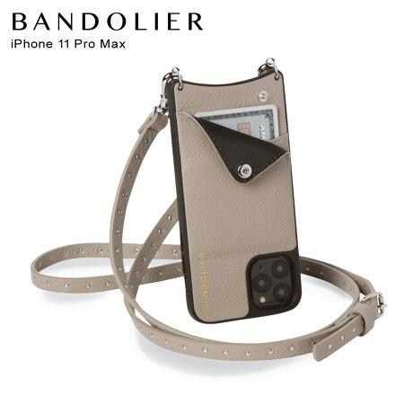 BANDOLIER バンドリヤー iPhone11 Pro MAX ケース スマホ 携帯 ショルダー アイフォン メンズ レディース レザー NICOLE GREGE グレー 10NIC [2/3 新入荷]