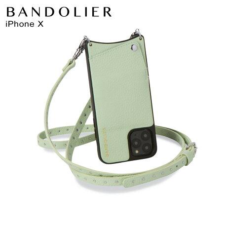 バンドリヤー BANDOLIER ニコル iPhoneXS X ケース スマホ 携帯 ショルダー アイフォン メンズ レディース レザー NICOLE MIST GREEN グリーン 10NIC [2/14 新入荷]