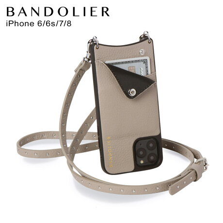 BANDOLIER バンドリヤー iPhone 8 iPhone 7 6s ケース スマホ 携帯 ショルダー アイフォン メンズ レディース レザー NICOLE GREGE グレー 10NIC [2/3 新入荷]