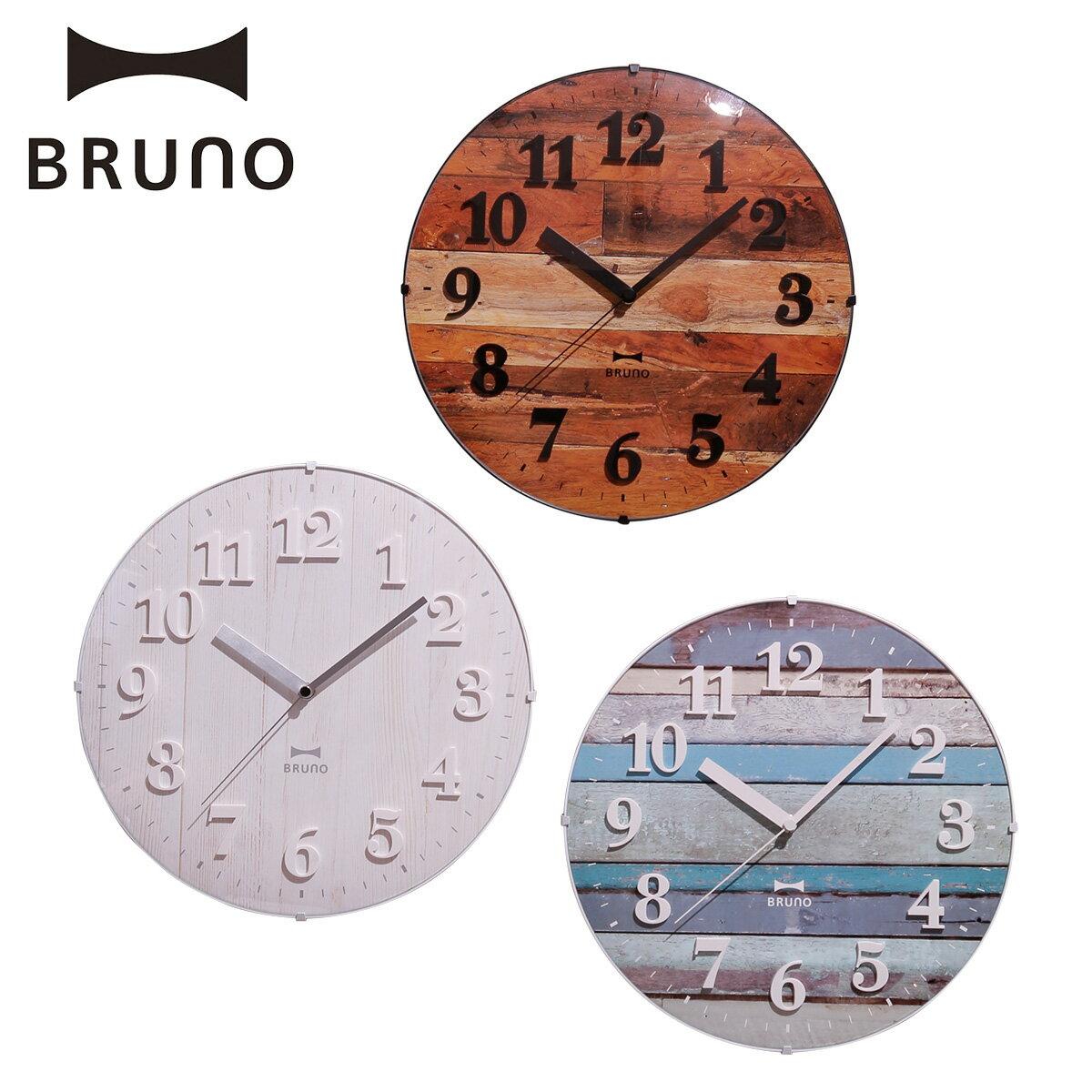 ブルーノ BRUNO 電波時計 掛け時計 ビンテージウッドクロック 壁掛け アンティーク 木目調 アナログ ラウンド型 丸 ヴィンテージ 北欧 ウォールクロック ホワイト ブルー ブラウン 白 BCR008