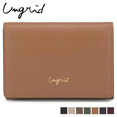 Ungrid アングリッド カードケース 名刺入れ 定期入れ レディース SMOOTH CARD CASE ブラック ホワイト ベージュ カーキ ブラウン ワイン レッド 黒 白 UNG-51780