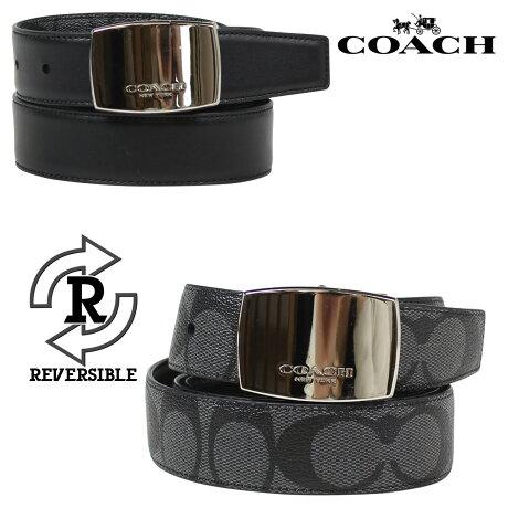 コーチ COACH ベルト メンズ 本革 レザー リバーシブル ビジネス F64828 チャコール ブラック [6/28 再入荷]