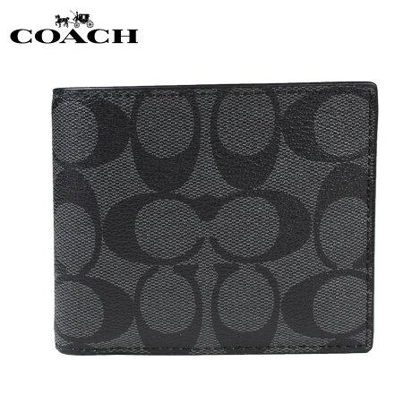 コーチ COACH 財布 二つ折り メンズ パスケース F74993 チャコール ブラック