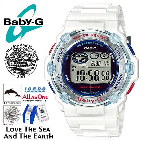 CASIO カシオ BABY-G 白 イルカ クジラ 2017 腕時計 BGR-3007K-7JR ベビージー ベビーG ホワイト イルクジ コラボ レディース [5/17 追加入荷]