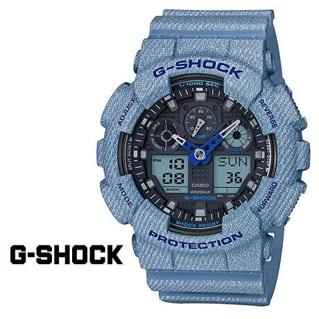 カシオ CASIO G-SHOCK 腕時計 GA-100DE-2AJF ジーショック Gショック G-ショック デニム ライトブルー メンズ レディース